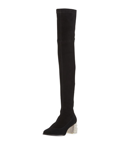 Suranne Over-The-Knee Boots with Embellished Block Heel
