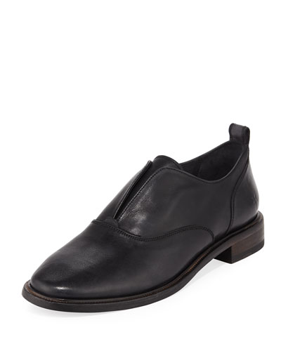 Kelly Open Leather Oxfords, Black