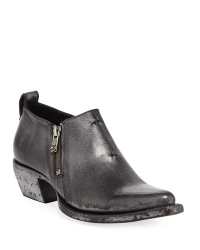 Sacha Metallic Leather Zip Short Booties