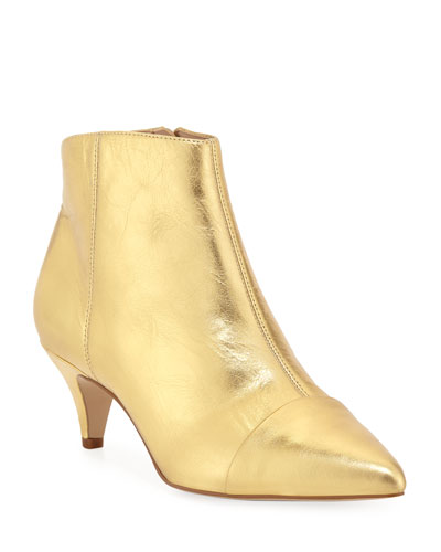Kinzey Metallic Leather Kitten-Heel Booties