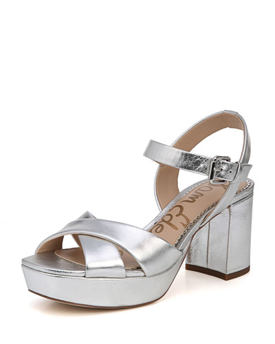 Jolene Distressed Metallic Chunky-Heel Sandal