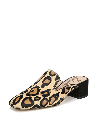 Adair Leopard-Print Block-Heel Mule