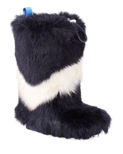 Chevron Faux-Fur Tall Boots