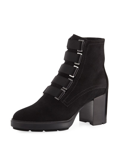 Indira Soft Leather Block-Heel Booties