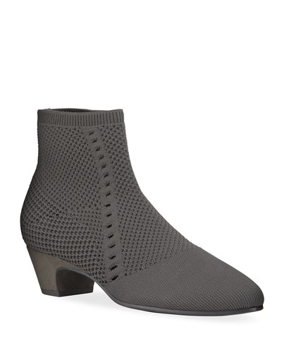 Purl Stretch-Knit Fabric Booties