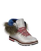 Moncler Solange Metallic Fur-Trim Boots