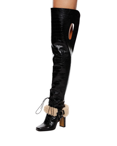 Equestrian Faux-Fur Trim Over-The-Knee Boot