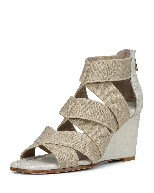 Lelle Elastic Burlap Wedge Sandal
