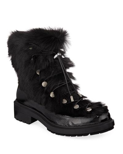 Lorena Fur Combat Boots