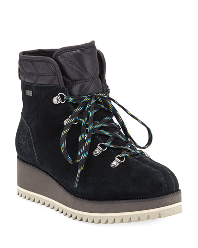 Birch Lace-Up Wedge Hiker Booties