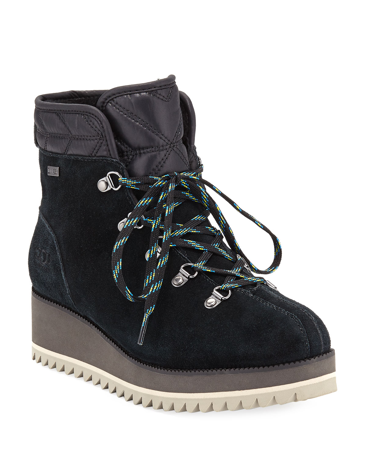 Birch Lace-Up Wedge Hiker Booties, Black