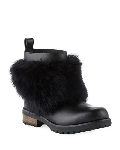 Otelia Tall Wool-Cuff Leather Boots