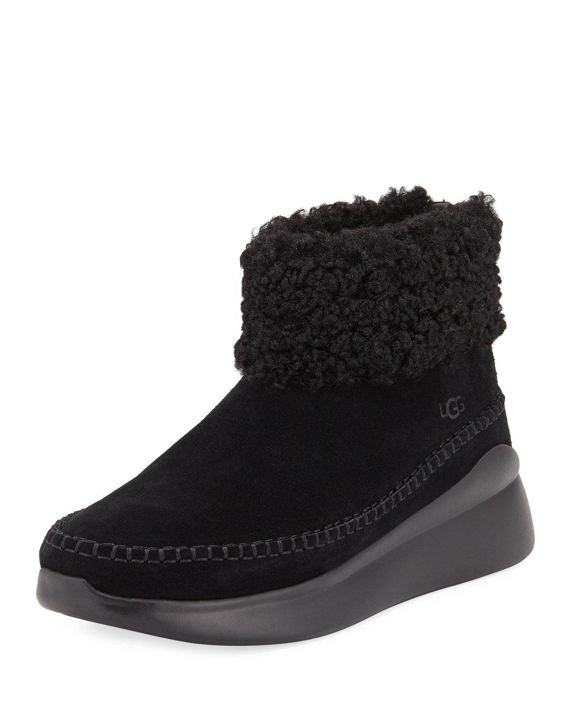 Montrose Short Zip Wedge Boot Sneakers, Black