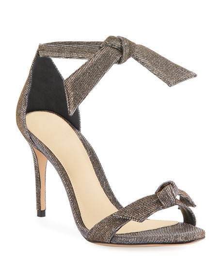 Alexandre Birman Clarita Mid-Heel Metallic Evening Fabric Sandals