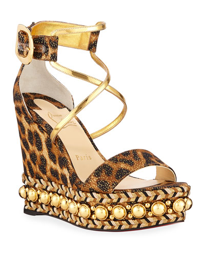 ce3b8ef27a1c Quick Look. Christian Louboutin · Chocazeppa Leopard Wedge Red Sole  Espadrille Sandals