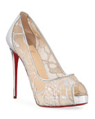 Christian Louboutin Very Lace 120mm Metallic Peep-Toe Red