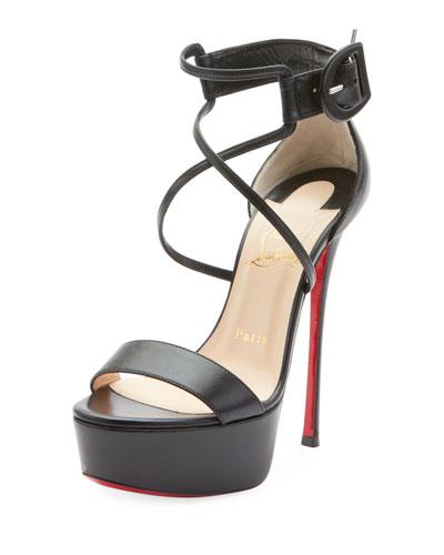 Christian Louboutin Choca 130mm Leather Platform Red Sole Sandal