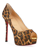Christian Louboutin Fetish High-Heel Platform Leopard Red Sole
