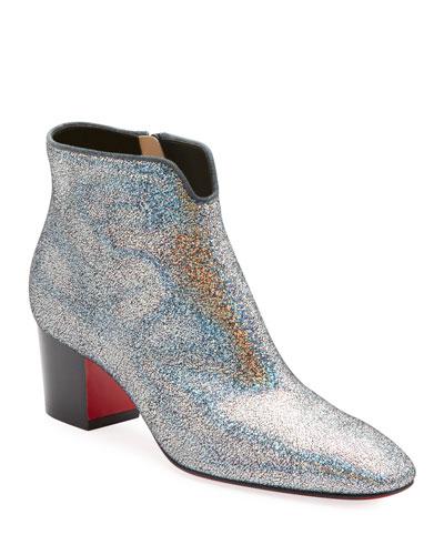 Disco 70s Low-Heel Glitter Red Sole Booties