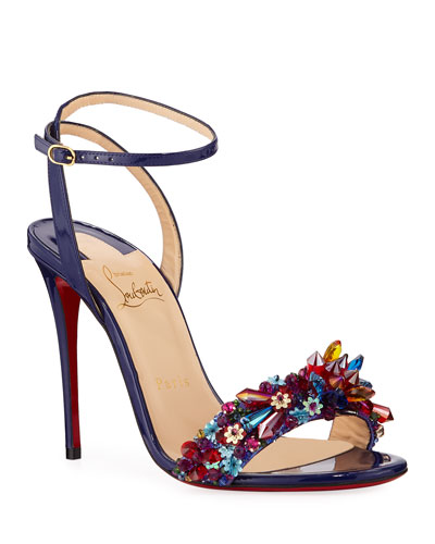 Multiqueen Crystal Patent Red Sole Sandals