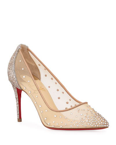 Follies Strass 85mm Glitter-Heel Mesh Red Sole Pumps