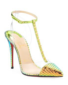 Christian Louboutin Nosy Spikes Holographic Red Sole Pumps