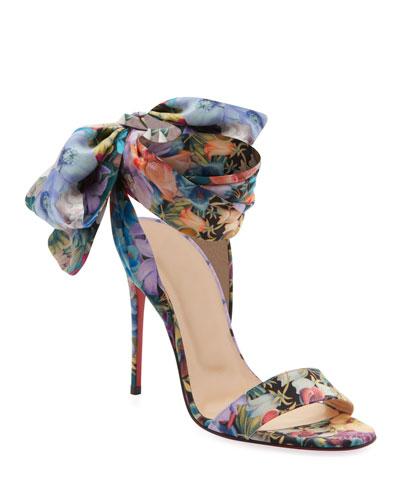 Sandale Du Desert Flower Power Satin Red Sole Sandals