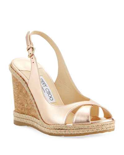 c1238c3b02 Quick Look. Jimmy Choo · Amely 105mm Metallic Leather Cork Wedge Sandals