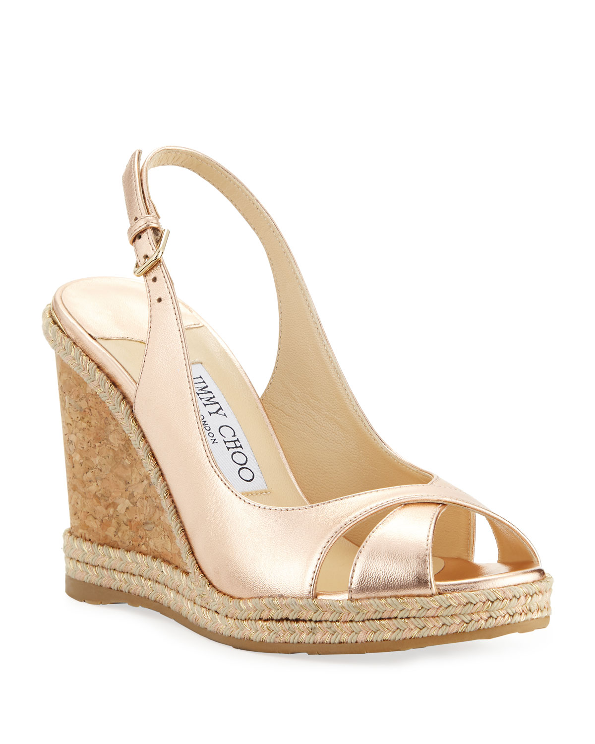 Amely 105mm Metallic Leather Cork Wedge Sandals