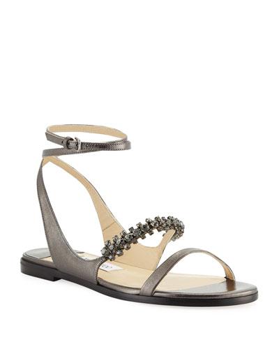 Abira Metallic Leather Jeweled Sandals