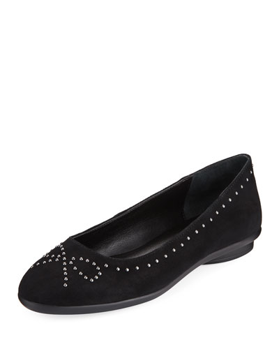 Markie Bow-Studded Suede Ballet Flats