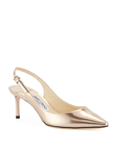 Erin Mid-Heel Liquid Metallic Slingback Pumps
