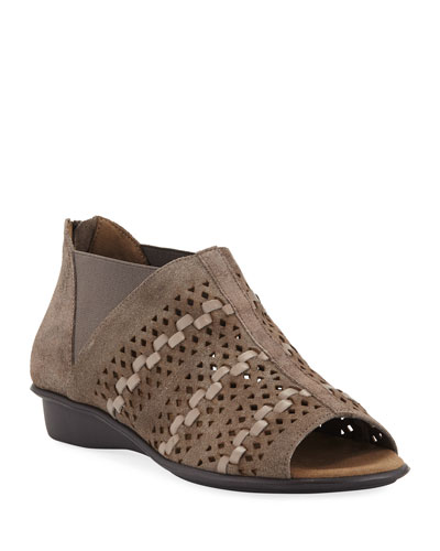 Emilia Woven Comfort Suede Slip-On Sandals