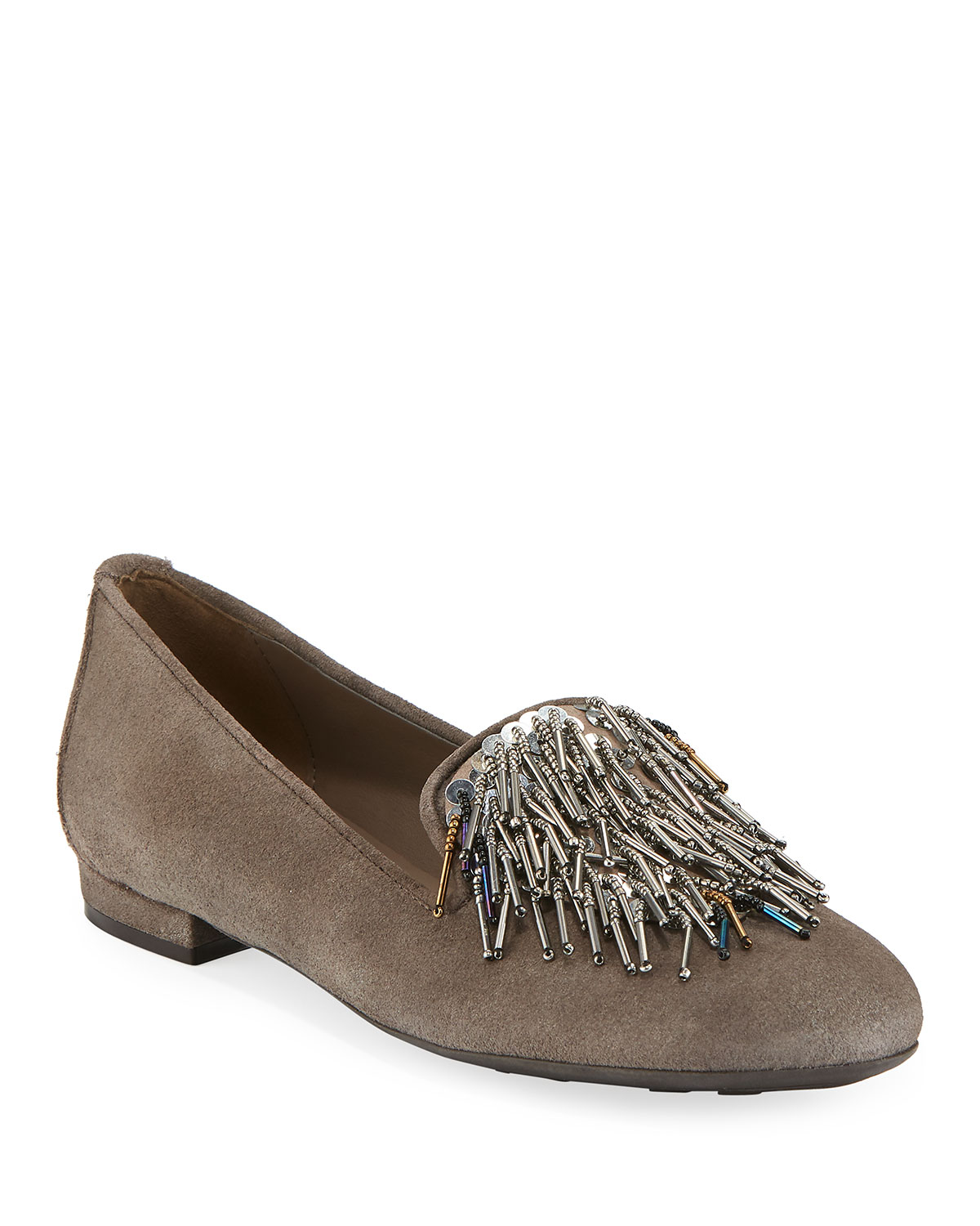 Kamile Embellished Suede Loafers, Taupe