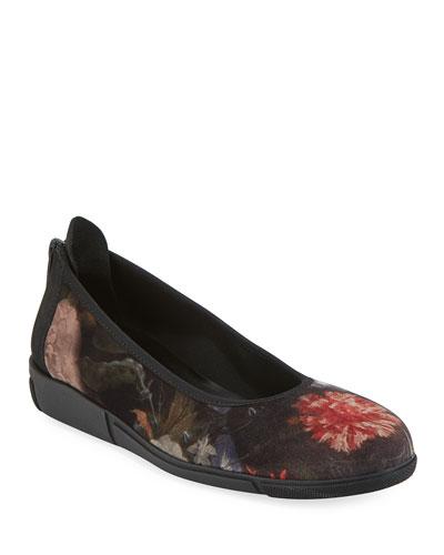 Diona Comfort Wedge Floral Velvet Ballet Flats