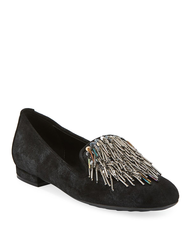 Kamile Embellished Suede Loafers, Black