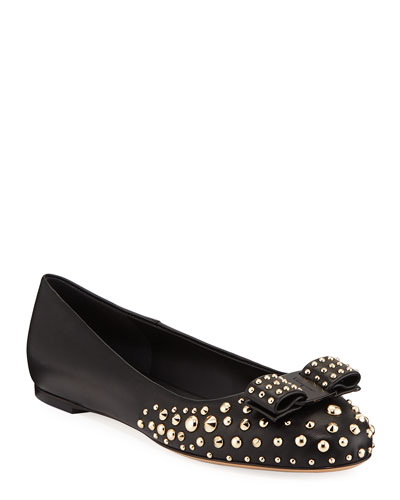 Varina Roc3 Studded Leather Ballet Flats