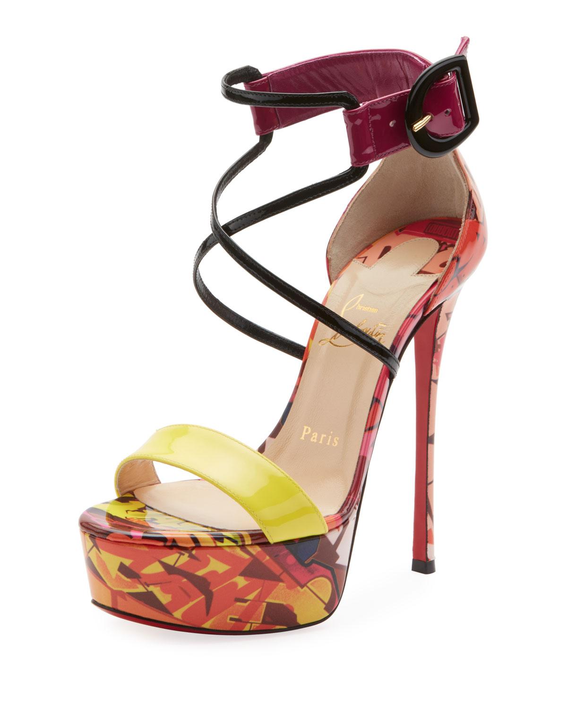 61e606fe0926 Christian Louboutin Choca Lux 120Mm Patpat Metrograf Red Sole Sandals In  Multi Pattern