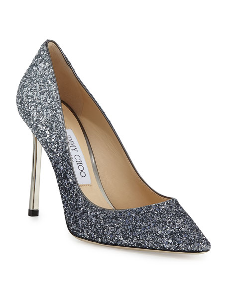 Jimmy Choo Romy Gradient Glitter Pointed-Toe 100mm Pumps