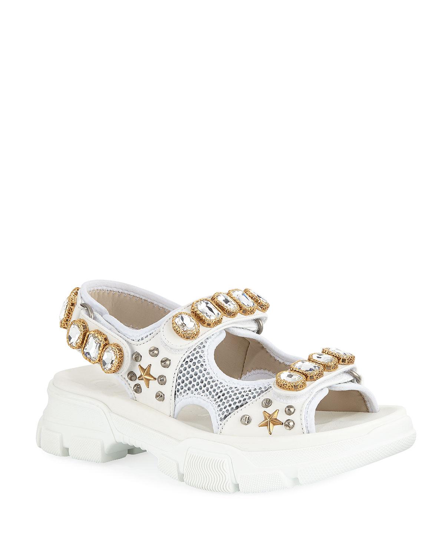 Metallic and Mesh Embellished Sandals