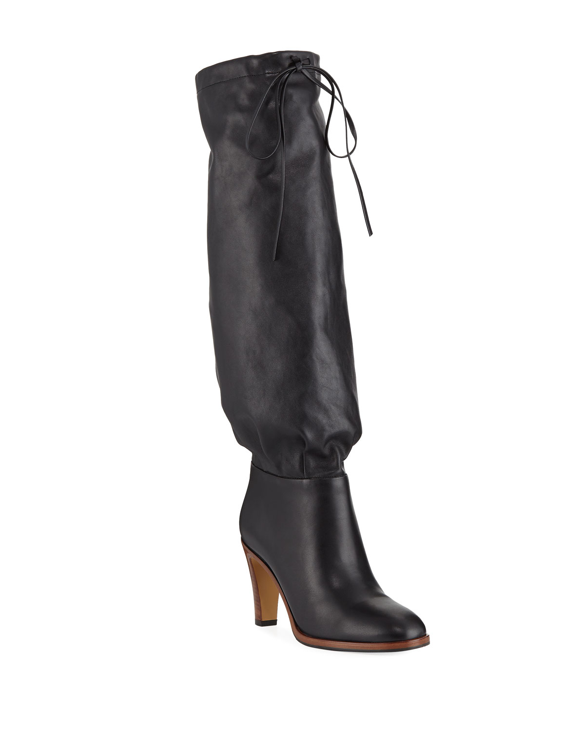 Leather Self-Tie Knee Boots