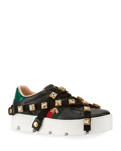 Leather Platform Sneakers with Detachable Jeweled Straps