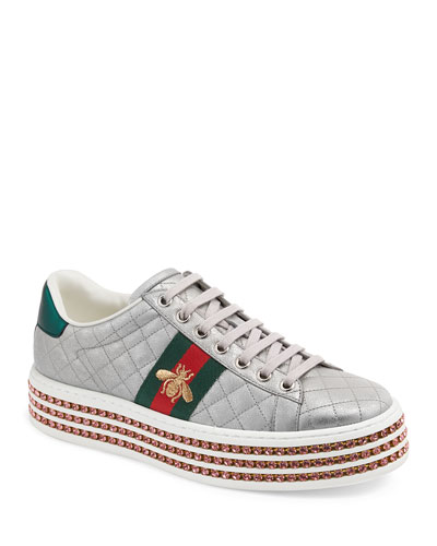 a4f20eecdd Quick Look. Gucci · Quilted Crystal-Platform Sneakers