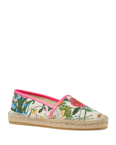 Floral Canvas Slip-On Espadrilles