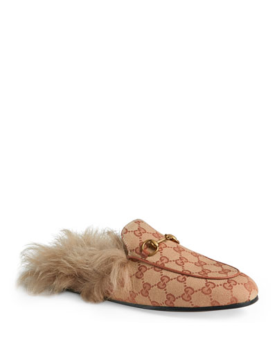 6afb87de9 Quick Look. Gucci · Princetown Fur-Lined GG ...