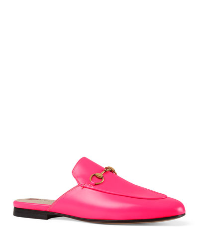 Neon Leather Horsebit Mules