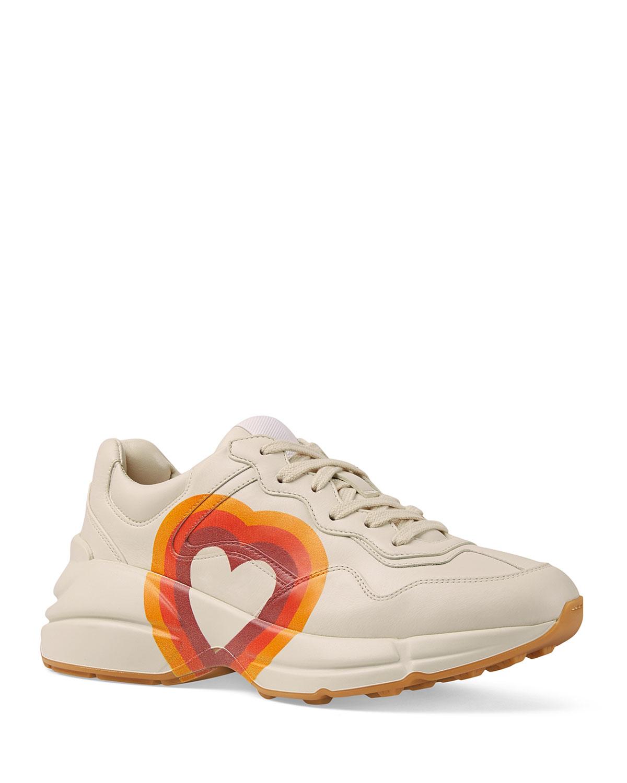 Interlocking G/Heart Leather Sneakers