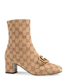 Gucci GG Canvas Mid-Heel Booties with GG Detail