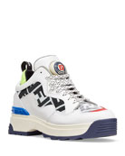 Fendi T-Rex Leather and Mesh Sneakers