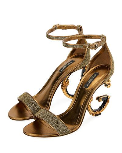 Metallic Glitter Sandals with Letter Heels